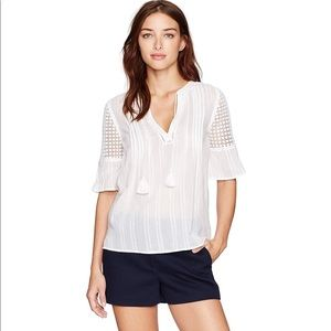 PIAGE white eyelet tassel tie cotton CECILE blouse